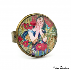 "Antique style jewelry ""August by Alfons Mucha"""