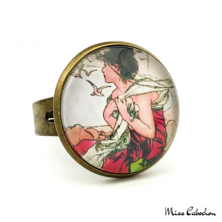 "1900s style ring ""September by Alfons Mucha"""