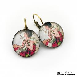 """Boucles d'oreille 1900 """"Septembre par Alfons Mucha"""""""