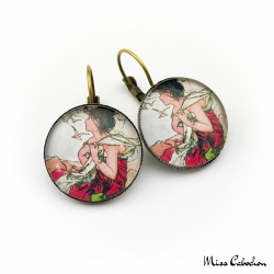"1900s style earrings ""September by Alfons Mucha"""