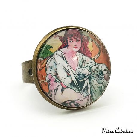 "Retro ring ""October by Alfons Mucha"""