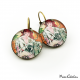 "Retro earrings ""October by Alfons Mucha"""