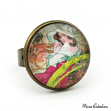 "Art nouveau ring ""November by Alfons Mucha"""