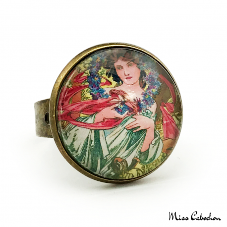 "Art deco ring ""December by Alfons Mucha"""