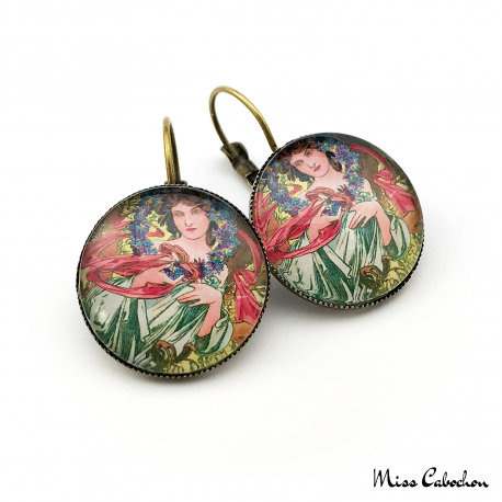 "Art deco earrings ""December by Alfons Mucha"""