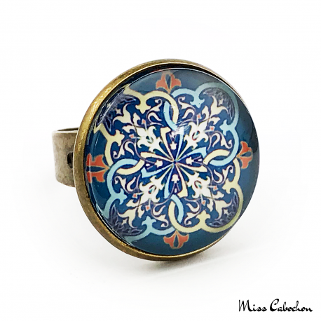 """Blue arabesque"" ring"