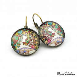 "Round earrings ""Laurel"" - Art Nouveau collection"