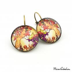 "Round earrings ""Fruits"" - Art Nouveau collection"
