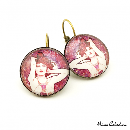 "Round earrings ""Amethyst"" - Art Nouveau collection"