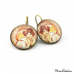 "Round earrings ""Topaz"" - Art Nouveau collection"