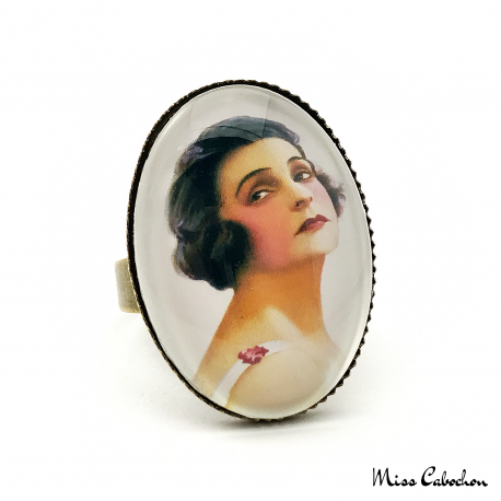 "Ring ""The young woman with a rose"" - Art déco style - Adjustable ring - Handmade jewelry"