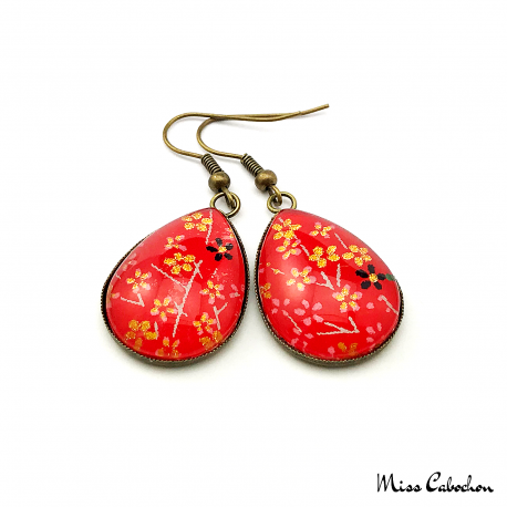 Japanese flower earrings