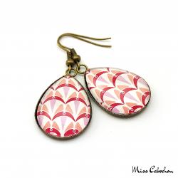 Boucles d'oreille - Collection Art déco - Camaïeu de rouges