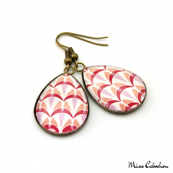 Teardrop earrings - Art deco collection - Camaïeu de rouges