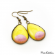 Teardrop earrings - Pink Moon on Yellow
