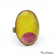 Oval fashion ring - Pink Moon on Yellow