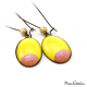 Dangle earrings - Pink Moon on Yellow