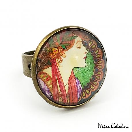 Art nouveau style ring - Laurel - Alfons Mucha