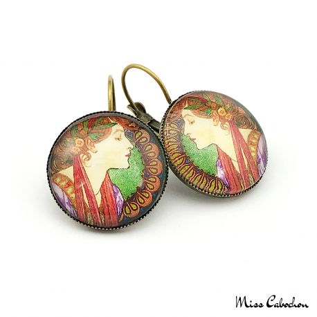 Art nouveau style earrings - Laurel - Alfons Mucha