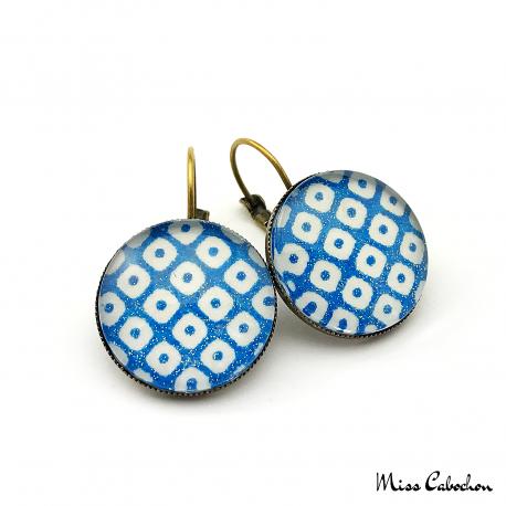 Boucles d'oreille Damier - Bleu et blanc