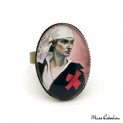 "Ring ""The nurse"" - Art déco style - Adjustable ring - Handmade jewelry"
